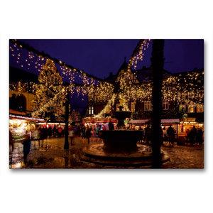Premium Textil-Leinwand 90 cm x 60 cm quer Weihnachtsmarkt