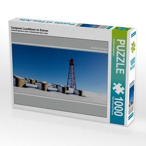 Campener Leuchtturm im Schnee 1000 Teile Puzzle quer