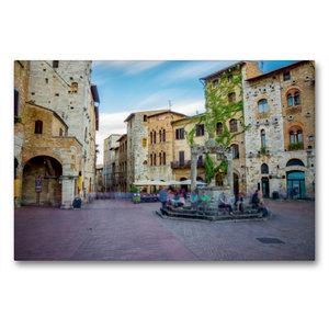 Premium Textil-Leinwand 90 cm x 60 cm quer San Gimignano Brunnen
