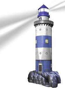 Leuchtturm bei Nacht. 3D-Puzzle 216 Teile