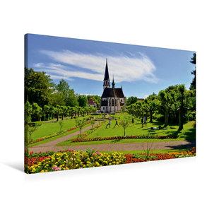 Premium Textil-Leinwand 90 cm x 60 cm quer Stadtgarten mit Kirch