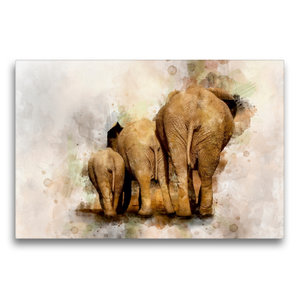 Premium Textil-Leinwand 75 cm x 50 cm quer Elefanten - künstleri