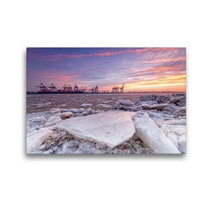 Premium Textil-Leinwand 45 cm x 30 cm quer Eiszeit an der Elbe