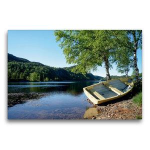 Premium Textil-Leinwand 75 cm x 50 cm quer Ruderboot am Ufer