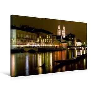 Premium Textil-Leinwand 75 cm x 50 cm quer Zürich in der Nacht