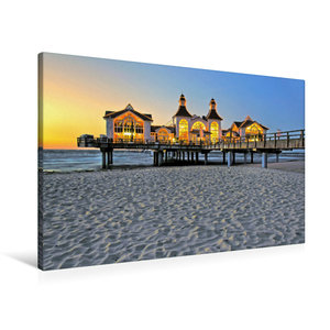 Premium Textil-Leinwand 90 cm x 60 cm quer Sonnenuntergang an de