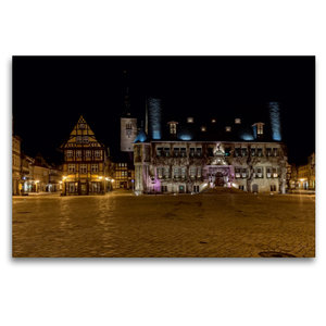Premium Textil-Leinwand 120 cm x 80 cm quer Rathaus in Quedlinbu