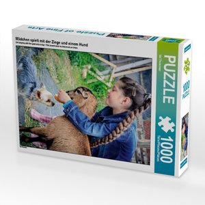 Mädchen spielt mit der Ziege und einem Hund 1000 Teile Puzzle ho