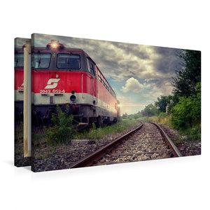 Premium Textil-Leinwand 90 cm x 60 cm quer Lokomotive