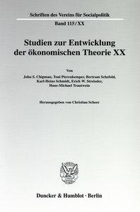 Studien zur Entwicklung der ökonomischen Theorie 20