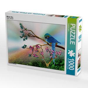 Blaue Ara 1000 Teile Puzzle quer