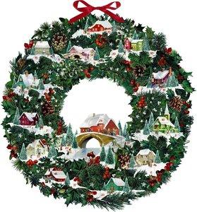 Wandkalender - Winterhäuschen-Weihnachtskranz