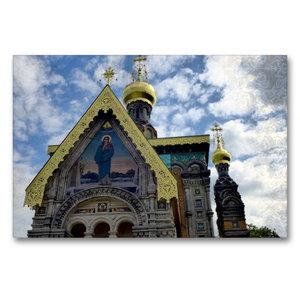Premium Textil-Leinwand 90 cm x 60 cm quer Russische Kapelle