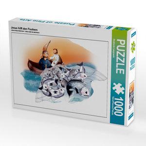 Jesus hilft den Fischern 1000 Teile Puzzle quer