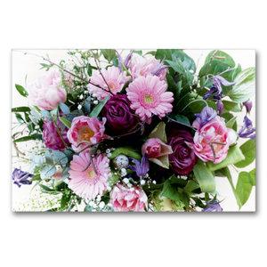 Premium Textil-Leinwand 90 cm x 60 cm quer Bunter Blumenstrauß
