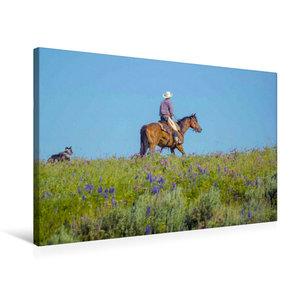 Premium Textil-Leinwand 75 cm x 50 cm quer Cowboy mit Hund und P