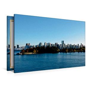 Premium Textil-Leinwand 120 cm x 80 cm quer Skyline Vancouver
