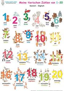 Meine tierischen Zahlen von 1-20. Poster Deutsch / Englisch
