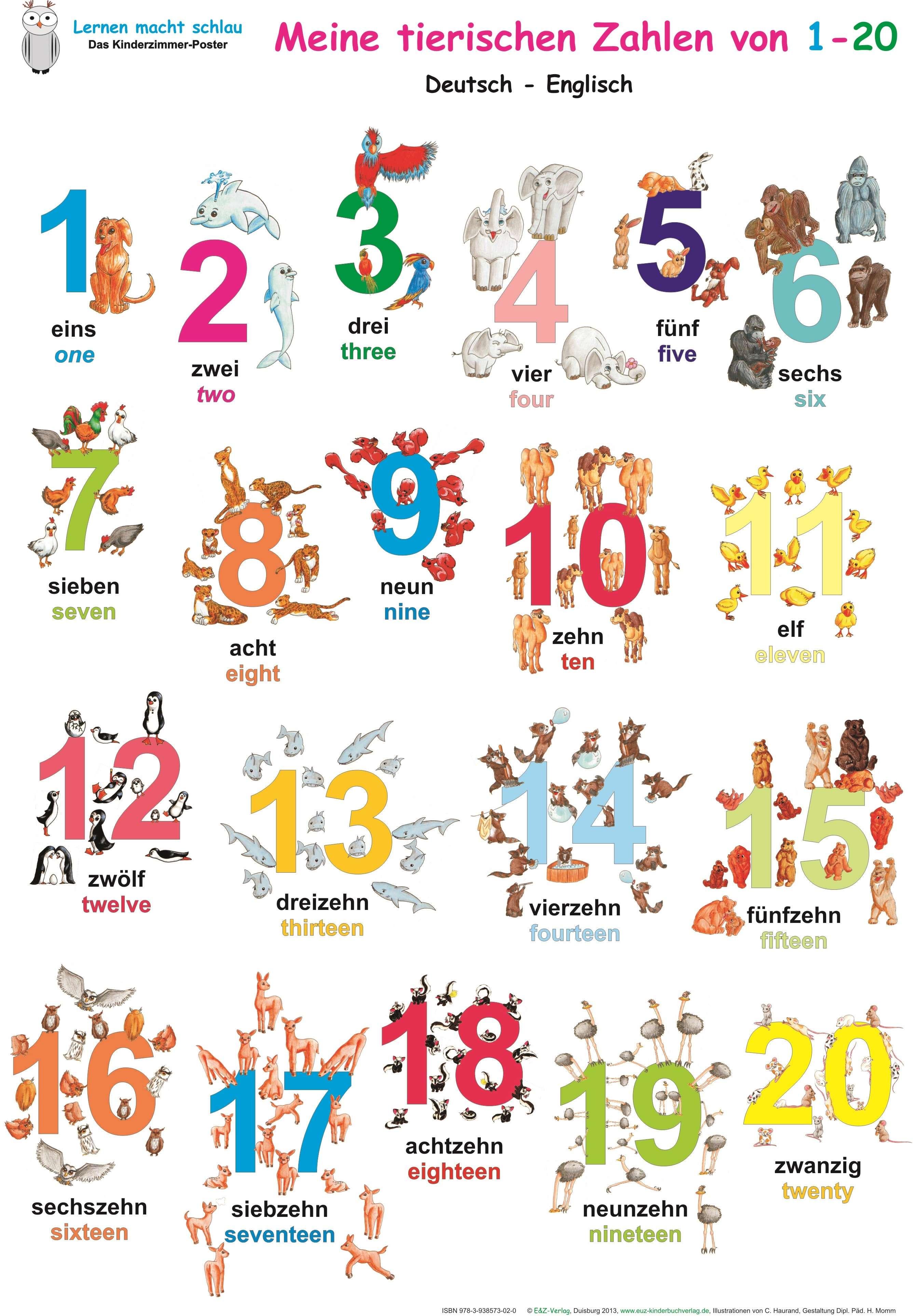 Meine tierischen Zahlen von 1-20. Poster Deutsch / Englisch ...