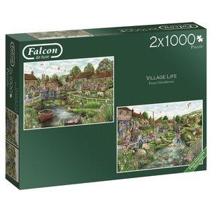 Falcon 11216 - De Luxe, Village Life, Puzzle, 2 x 1000 Teile