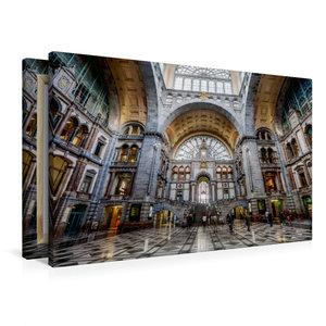 Premium Textil-Leinwand 90 cm x 60 cm quer Historischer Bahnhof