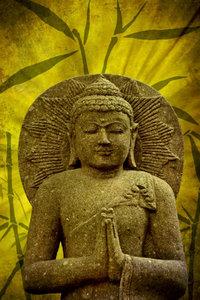 Premium Textil-Leinwand 60 cm x 90 cm hoch Buddha - Asien für d
