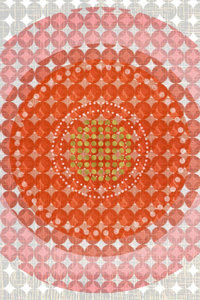 Premium Textil-Leinwand 50 cm x 75 cm hoch Punkte, Orange und Go
