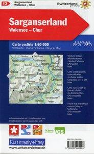 KuF Schweiz Radkarte 13 Sarganserland - Walensee - Chur 1 : 60 0