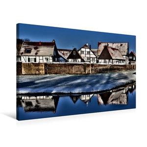 Premium Textil-Leinwand 75 cm x 50 cm quer Winterlicher Dorfchar
