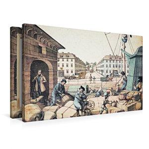 Premium Textil-Leinwand 90 cm x 60 cm quer Packhof (Handel/Verke
