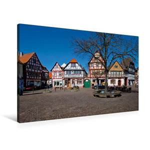 Premium Textil-Leinwand 90 cm x 60 cm quer Marktplatz Seligensta
