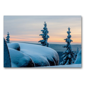 Premium Textil-Leinwand 90 cm x 60 cm quer Winterstimmung auf de