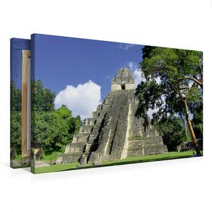 Premium Textil-Leinwand 75 cm x 50 cm quer Maya Pyramide in Tika