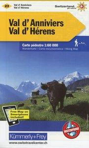 KuF Schweiz Wanderkarte 23 Val d' Anniviers, Val d' Hérens 1 : 6