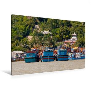 Premium Textil-Leinwand 120 cm x 80 cm quer Boote auf dem Cai Fl