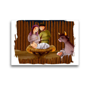Premium Textil-Leinwand 45 cm x 30 cm quer Jesus wird im Stall v