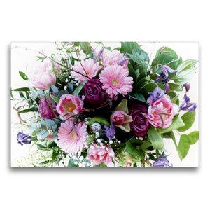 Premium Textil-Leinwand 75 cm x 50 cm quer Bunter Blumenstrauß