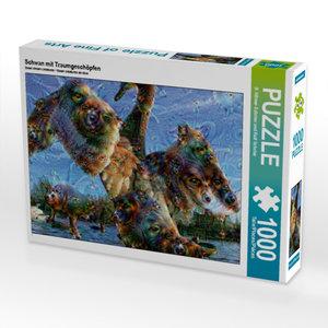 Schwan mit Traumgeschöpfen 1000 Teile Puzzle quer