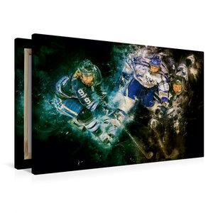 Premium Textil-Leinwand 90 cm x 60 cm quer Eishockey