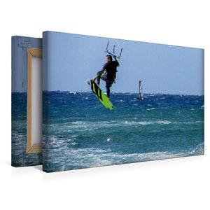 Premium Textil-Leinwand 45 cm x 30 cm quer Kitesurfen im tiefbla