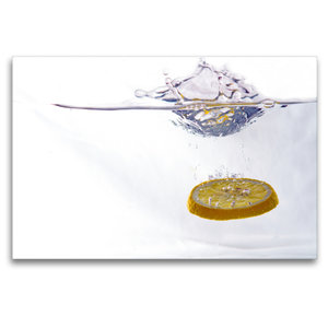 Premium Textil-Leinwand 120 cm x 80 cm quer Zitrone