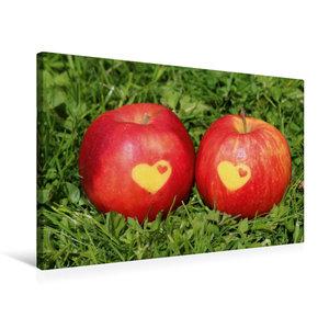 Premium Textil-Leinwand 75 cm x 50 cm quer Äpfel mit Herz