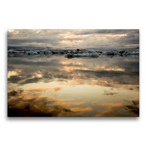 Premium Textil-Leinwand 75 cm x 50 cm quer Sonnenuntergang am Gl
