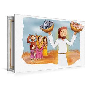 Premium Textil-Leinwand 120 cm x 80 cm quer Jesus vermehrt Brot