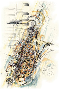Premium Textil-Leinwand 60 cm x 90 cm hoch The Swinging Sax