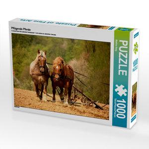 Pflügende Pferde 1000 Teile Puzzle quer