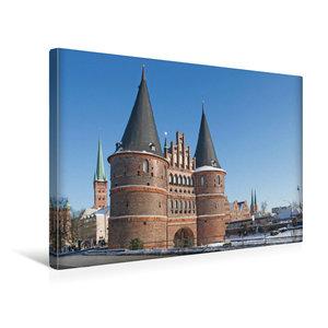 Premium Textil-Leinwand 45 cm x 30 cm quer Holstentor Lübeck