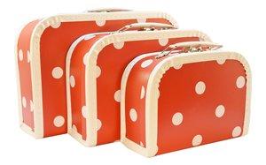 Kersa 86019 - Koffer Set rot mit Punkten, 3-teilig