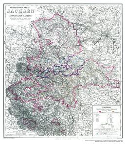 Histor. Karte: Sachsen nebst den ANHALTINISCHEN Ländern 1864
