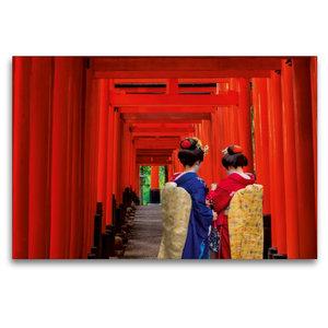 Premium Textil-Leinwand 120 cm x 80 cm quer Die Tori des Fushimi